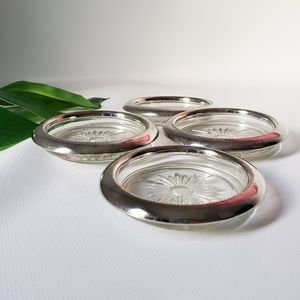 Silver and Glass 4 Coaster Set